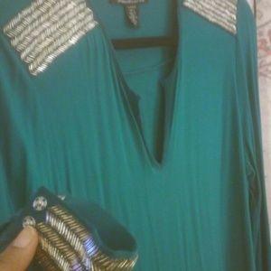 Kenneth Cole Emerald silver bead embelished dress